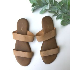 Bamboo Flat two strap leather slides